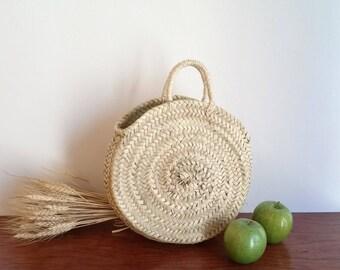 Runde Tragetasche. Handtasche in Palm. Kurzen Henkeln Einkaufstasche in Palm. Größe S. Sommer Tasche. Runden Korb. Sommer Tasche Shooping. Stroh Tote.
