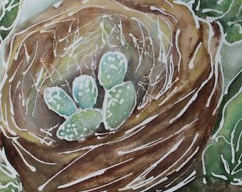 Bird's Nest with Blue Eggs, 8x10 inch Watercolor Fine Art Print