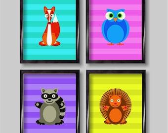 Cheerful Woodland Critters Nursery Wall Art
