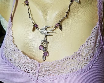 Lilac Dove, Crystals and Leaves Necklace, Flying bird necklace with Swarovski crystal and silver twigs and leaves