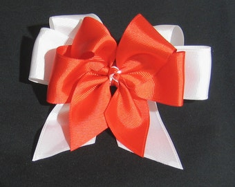 Red & White Girls  5 inch Double Hair Bow