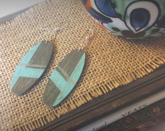 Chic Gray Lined with Turquoise Earrings, Rustic Style and Cottage Chic