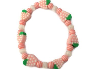 Raspberry Bracelet - Fruit Bead Bracelet - Pink Raspberry - Fruit Jewelry - Pink and White - Resin Beads - Striped Beads - Pink Bracelet