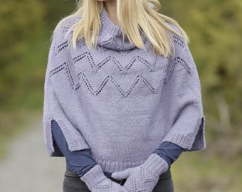 Women hand knitted poncho (hat and/or mittens are optional extras) in extra soft merino wool with lace, Size: S/M - M/L - L/XL