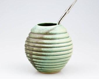 Yerba Mate Ceramic Gourd in Green Mat, Handmade Mug for Yerba Mate, Free Shipping