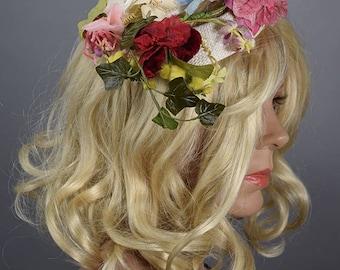 Whimsical Vintage 50s Floral Ringlet Hat by Hattie Carnegie