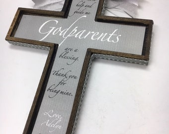 Godparents Cross  approx 7 x 9 inches- Gray and white on Stained Wood Cross