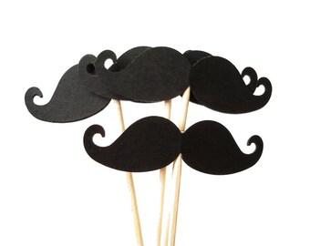 24 Black Mustache Party Picks, Cupcake Toppers, Food Picks, Toothpicks, Drink Picks - No867