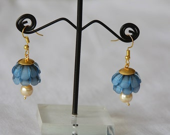 Sky Blue Floral Pattern Dangle and Drop Earrings / Royal Blue Jhumka / Gift For her / Pearl Jhumkas / Indian Jewelry / Sky Blue Danglers