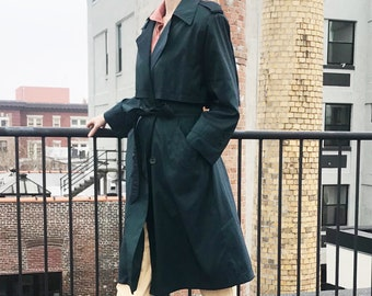 Bottle Green Belted Trench Coat - Iridescent Element, Moody