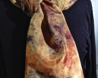 87 vegetable dye silk scarf, contact dyeing