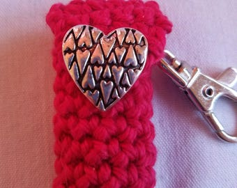 Valentine's Day Lip Balm Holder - Red Chapstick Case with a Fun Heart Button - Gifts for her -Be My Valentine