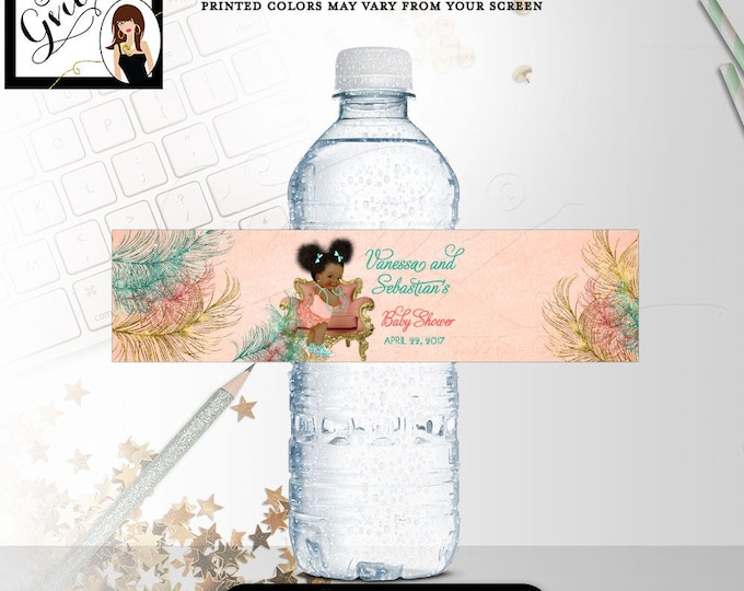 """DIGITAL-Water Bottle Labels, coral, mint green and gold water bottle labels baby shower, customizable African American 8x2""""/5 Per Sheet."""