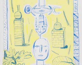 Musee Tiskiwin Riso Print blue and yellow