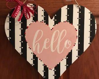 Hello Wooden Heart Door Hanger, Door Hanger, Hello Door Hanger, Pink White Hello, Heart Hello Hanger, Mothers Day