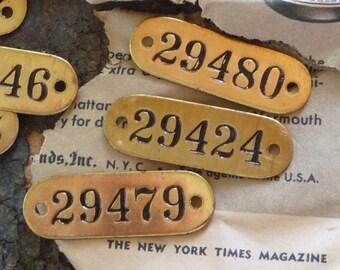 BRASS TAG Vintage Number Oval 2-Hole Metal Tags Marker Locker ID Tags