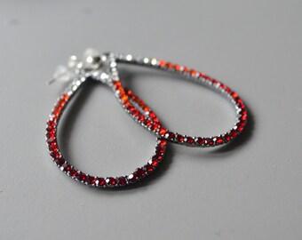 Earrings red drop