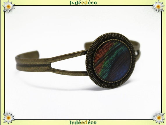 Resin bracelet feather peacock blue green brown bronze brass adjustable 20 mm