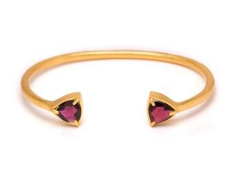 Gemstone Cuff Bracelet - Gold Gemstone Bangle - Garnet Cuff - Gold Cuff - Red Garnet Gemstone Bangle