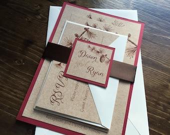Rustic Wedding Invitation, Pinecone Wedding Invitation, Winter Wedding Invitation, Red Wedding Invitaton, Custom Wedding