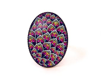 Cabochon ring • African wax • purple blue pink yellow blue fabric pearl glass