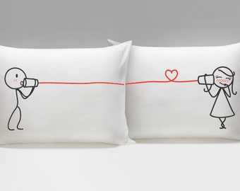Girlfriend Gift Couple Pillowcases Couples Pillow Cases His and Hers Pillowcases Couples Gift Say I Love You Couple Pillowcases Gift for Her