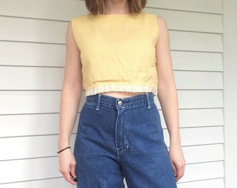 Vintage 70s Jeans Denim Rainbow Back Pocket 31 Inseam 28 High Waist Trousers Up