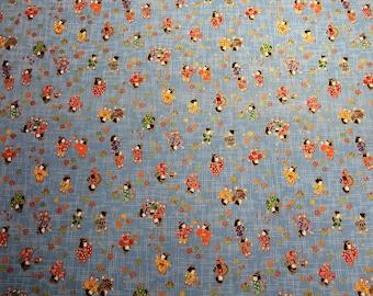 Japanese Cotton Fabric - Children on Blue