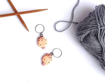 """ice"" rings 2 stitch markers for knitting or crochet with polymer clay"