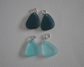 Blue Beach glass beads, aqua, dark blue, faux sea glass
