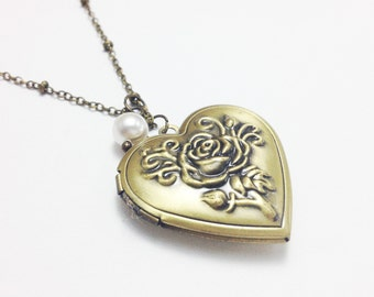 Locket necklace - bronze locket - heart locket with pearl - vintage necklace - Friendship necklace - birthday gift