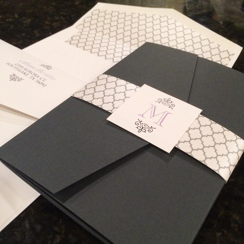 5x7 charcoal grey silver and purple pocket wedding invitation zoom stopboris Images