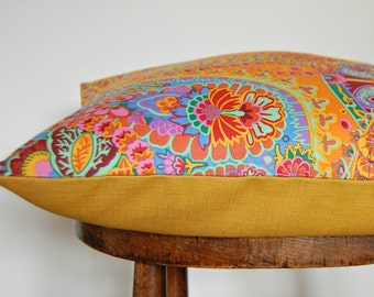 paisley cushion cover, burnt orange, mustard, mint green, orange, lilac flowers floral decorative pillow cover 16 inch / 40 cm