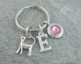 Cat keyring, cat keychain, cat gift, initial keychain, birthstone keychain, personalized keyring, custom keychain, monogram keychain, kitten