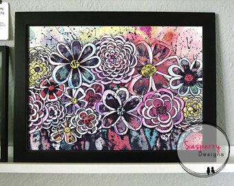 Modern Flower Illustration - Flower Poster - Floral Art Print - Pink Blue Coral Flowers
