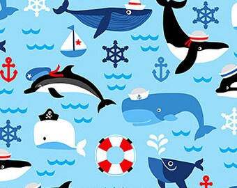 Blue Dolphins & Whales - First Mate by Deborah Edwards from Northcott Fabrics - Dolphins Fabrics - Whales Fabrics - Kids Fabrics
