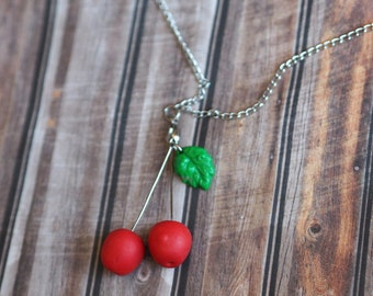 Summer Necklace, Fruit Jewelry, Red Cherry Jewelry, Rockabilly Necklace,  Cherry Pendant, Red Cherry Necklace, Summer Red Fruit Necklace