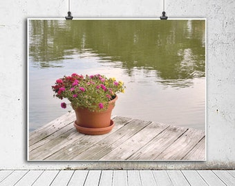 Lake house wall art, large photography print, shabby chic lake cottage wall decor, lake dock wall art, green grey lake home wall decor