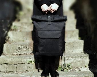 Ninja Rolltop Urban Messenger Backpack Black Men'sBag RidingBag School Bag Laptop Bag