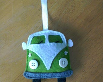 Felt camper van door hanger in green