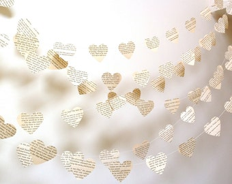 Vintage Paper Hearts Garland - Wedding Garland - Vintage French - Paper Garland - Party Decoration - Nursery Decor - Choose Your Language