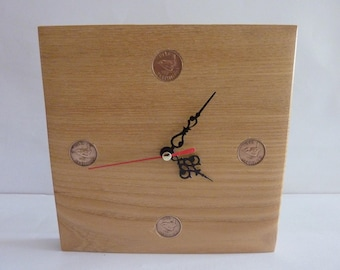 Square 4 Farthing Wall Clock made from Elm,Ideal gift for all occasions.