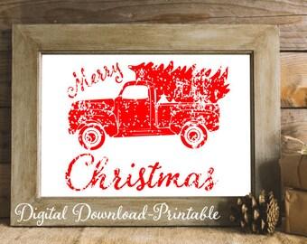 Merry Christmas Printable Rustic Christmas Decor Red Christmas Truck Christmas Tree Wood Christmas Print Vintage Holiday Wall Art