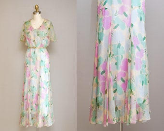 Vintage 30s Floral Chiffon Dress / 1930s Pastel Watercolor Formal Evening Gown / Vintage Wedding Dress / Medium