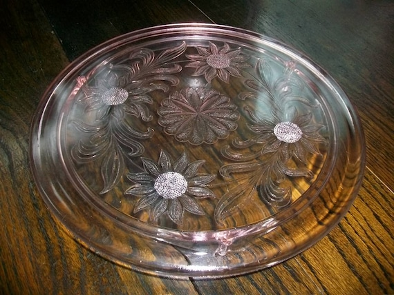 Pink Depression Glass Cake Plate Sunflower Vintage 1930s