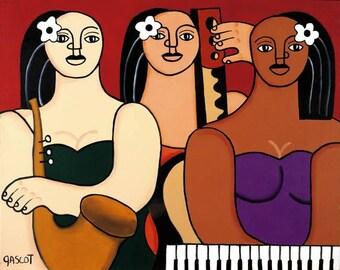 Jazz, Women,Painting, Music, Giclee, Art, Print