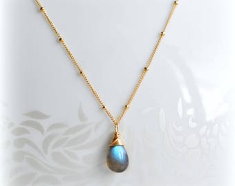 Dainty Labradorite Necklace Gold Satellite Chain, Mothers Day Gift, Delicate Necklace Gold or Silver Layering Necklace Labradorite Handmade