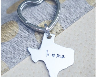 Texas Home Keychain - Home is Where the Heart is - Texan Pride Key Ring - Home State Keyring - Home with Heart