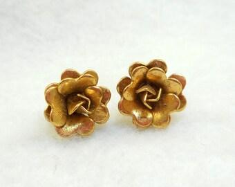Vintage Monet Gold Rose Post Earrings
