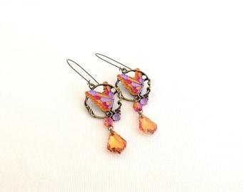 butterfly earrings, butterfly chandelier earrings, baroque crystal chandeliers, crystal earrings colorful